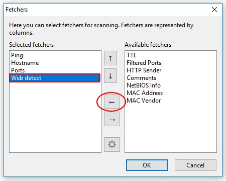 Angry IP Scanner Fetchers configuration